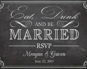 Shabby Chic Vintage Chalkboard RSVP For Wedding Invitation Birthday Party Bridal or Baby Shower Sign Digital