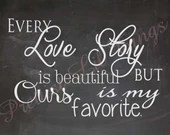 Shabby Chic Vintage Our Love Story Chalkboard Sign Typography Picture Wall Word Art Phrases Modern Decor Decorations Wedding Bridal Shower