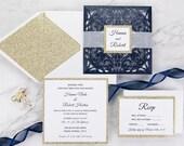 Glittering Navy Laser Cut Petal Fold Wedding Invitation RSVP Envelope Champagne Gold Glitter Mat Vellum Band Bridal Shower Baby Blue Pocket