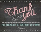 Shabby Chic Vintage Chalkboard Thank You Card Birthday Party Bridal or Baby Shower Wedding Digital DIY Printable
