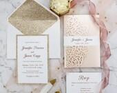 Elegant Blush Shimmer Laser Cut Pocket Fold Wedding Invitation Champagne Gold Glitter Backer RSVP Envelope Baby Bridal Shower Birthday Pink