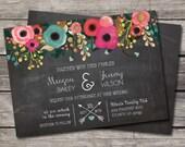 Rustic Shabby Chic Chalkboard Wedding Invitation Birthday Party Baby Bridal Shower Digital File Flowers Floral Folk Floral DIY Vintage