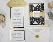 Elegant Black Shimmer Laser Cut Gate Fold Wedding Invitation Gold Glitter Belly Band RSVP Ivory Envelope Baby Bridal Shower Birthday Pocket