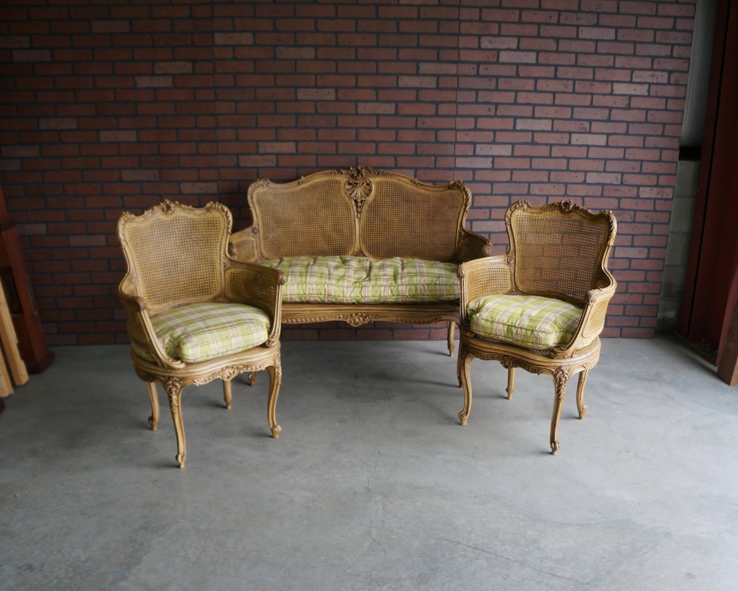 antique cane chairs round bungee cord chair etsy french carved and settee provincial set