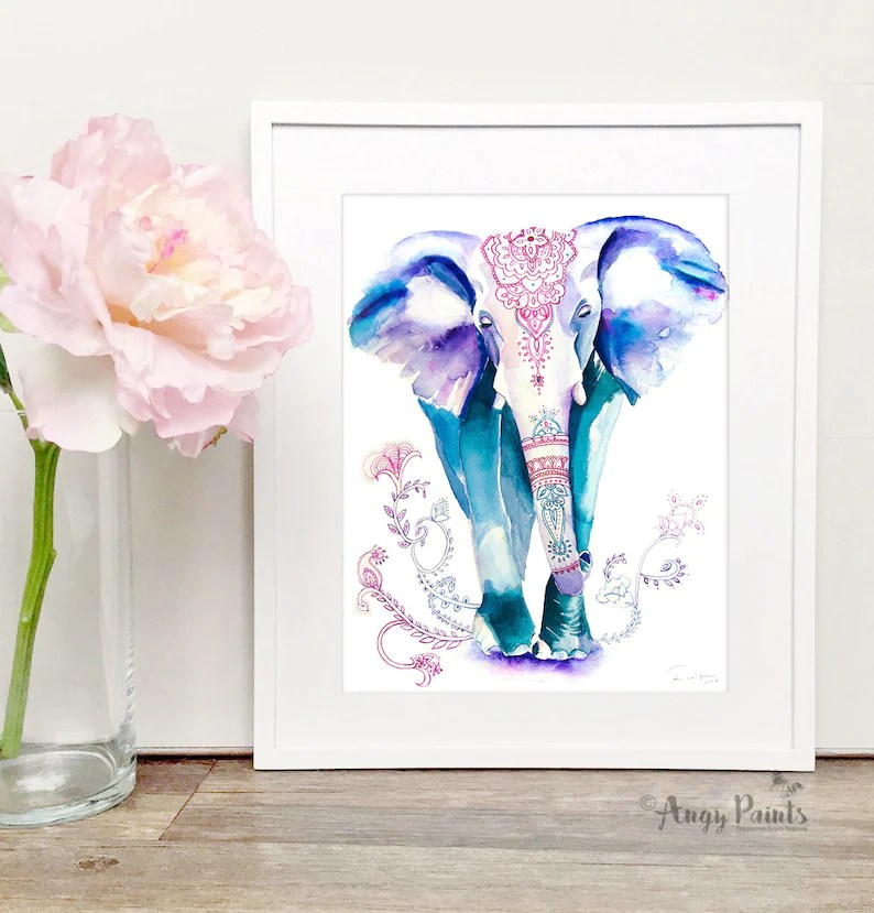 elephant painting animal watercolor
