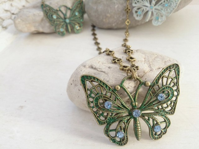 Green Butterfly Necklace ...