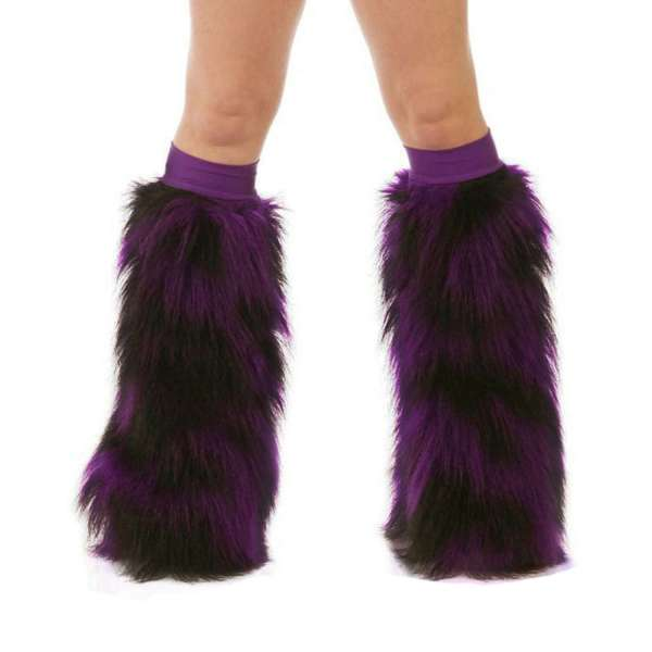 Furry Leg Warmers Purple Black Fuzzy Boot Covers Rave
