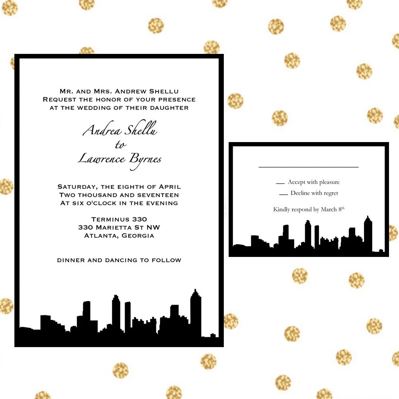 Atlanta Skyline Wedding Invitations Atlanta Georgia  Etsy