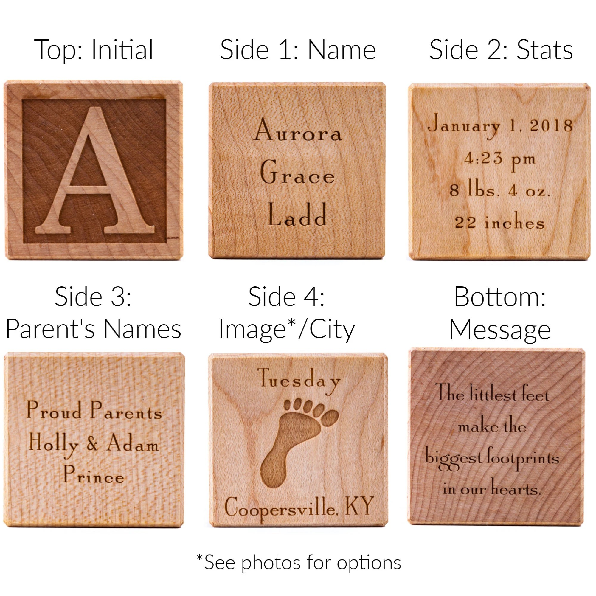 Personalized Baby Block  Wooden Baby Block  Unique Baby Gift image 1