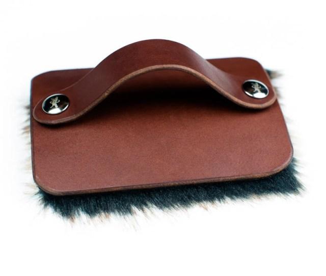 Petting Brush Fur Pad Hand Of Praise Brown Leather Faux Fur Mocha Nickel Fasteners
