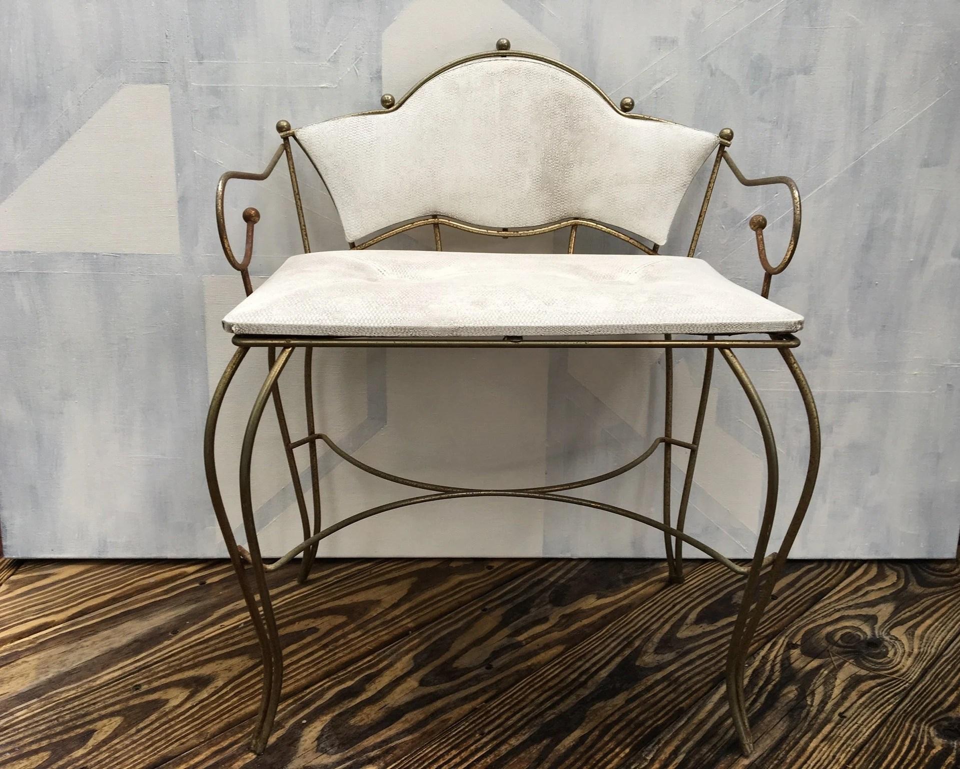 vintage vanity chair oxblood leather wingback etsy dressing table stool mid century modern makeup hollywood regency pearl wick free pickup