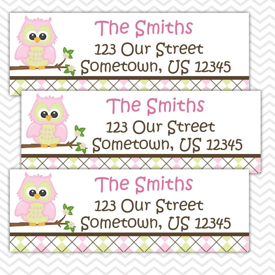 pink owl personalized address