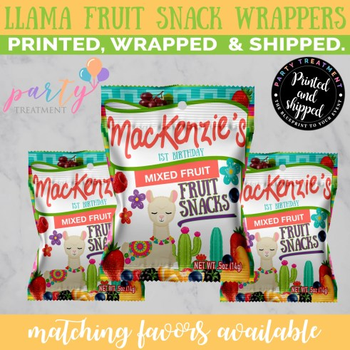 Personalized Llama party fruit snack favors