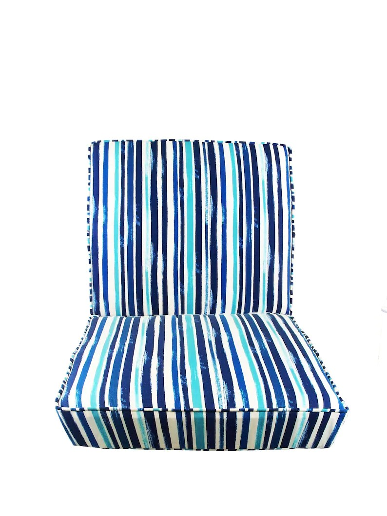Blue And White Striped Chair Outdoor Chair Cushions Set Seat And Back Cushions Pads Seat Patio Blue And White Striped Wicker Piping Stripe Bench Deep Replacement