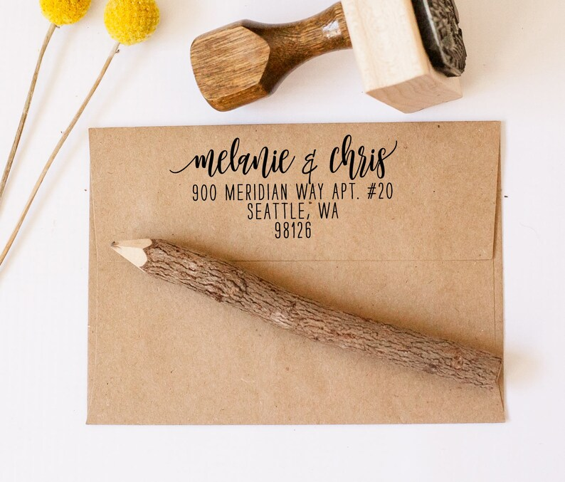 return address stamp calligraphy