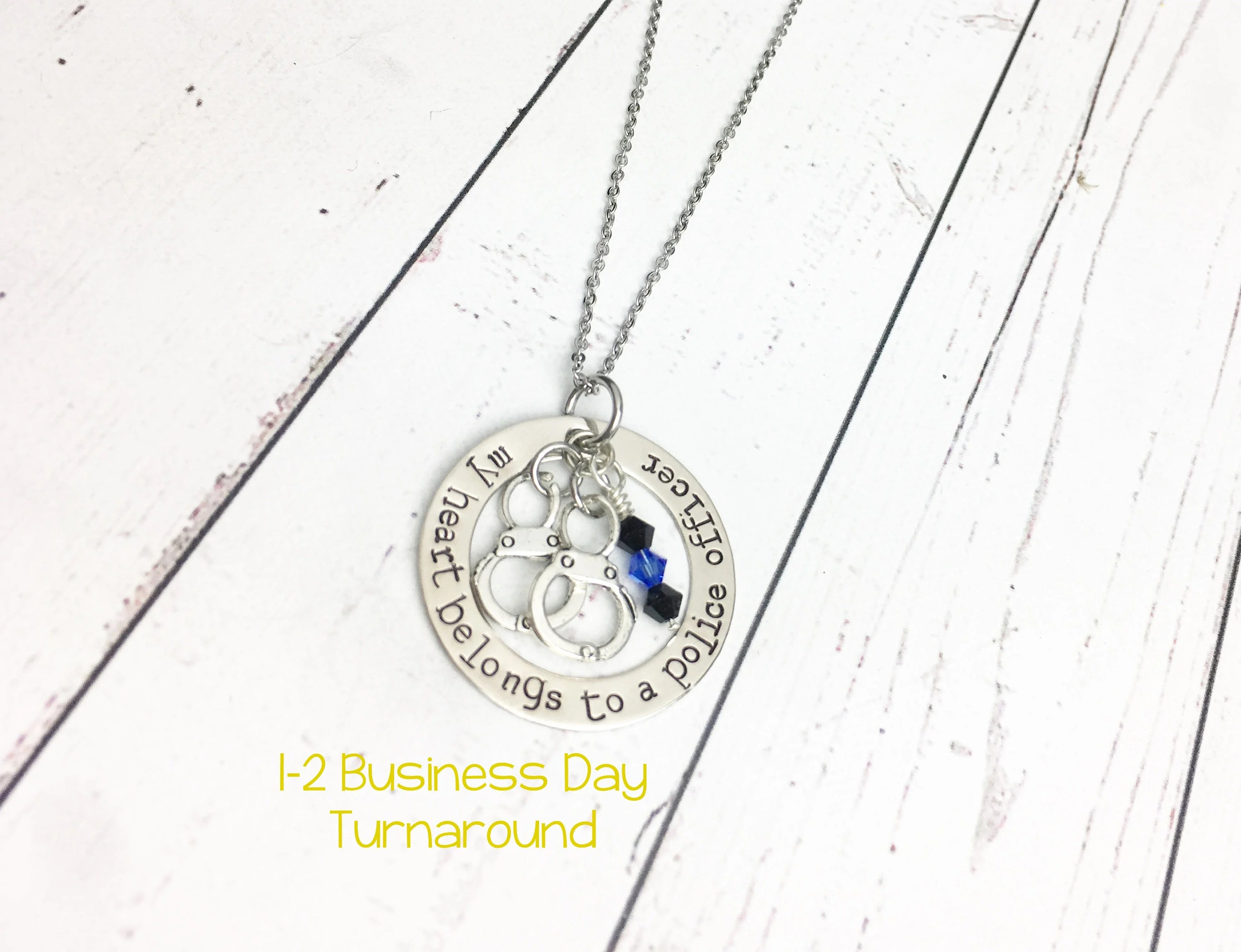 My Heart Belongs to a Police Officer Hand Stamped Necklace