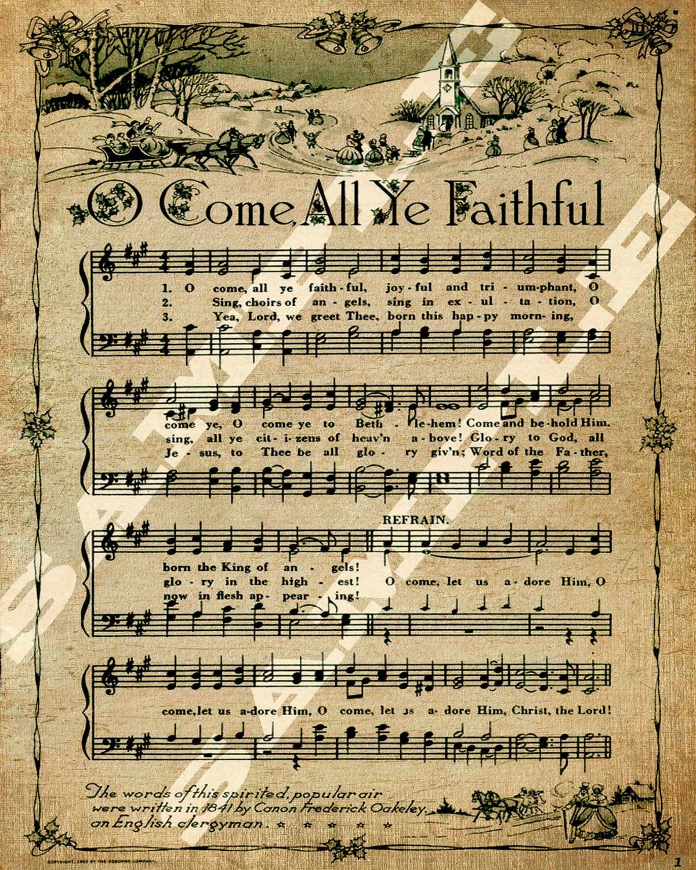 O Come All Ye Faithful Christmas Holiday Religious Sheet Music