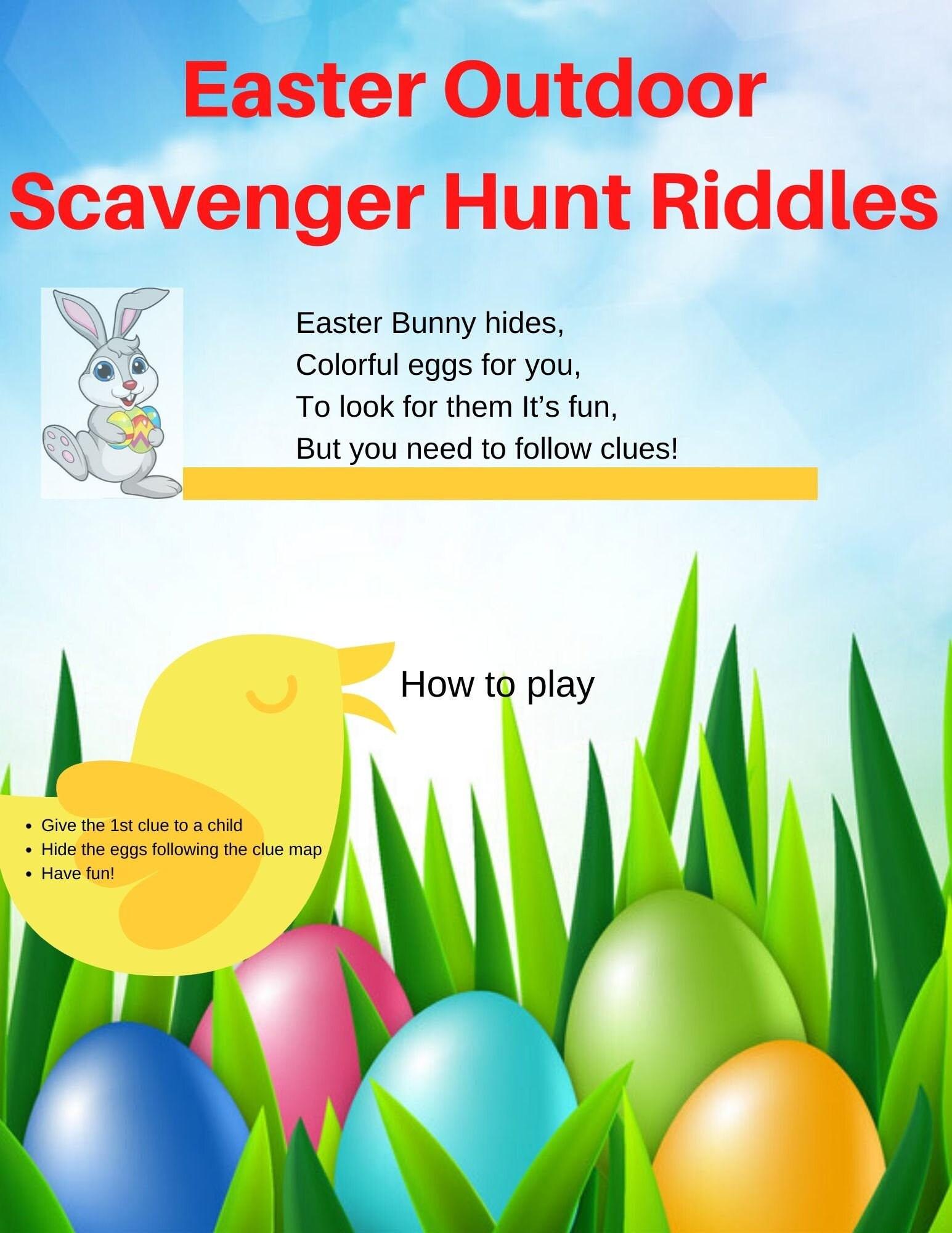 Easter Outdoor Scavenger Hunt Riddles 12 Rhyming Clues