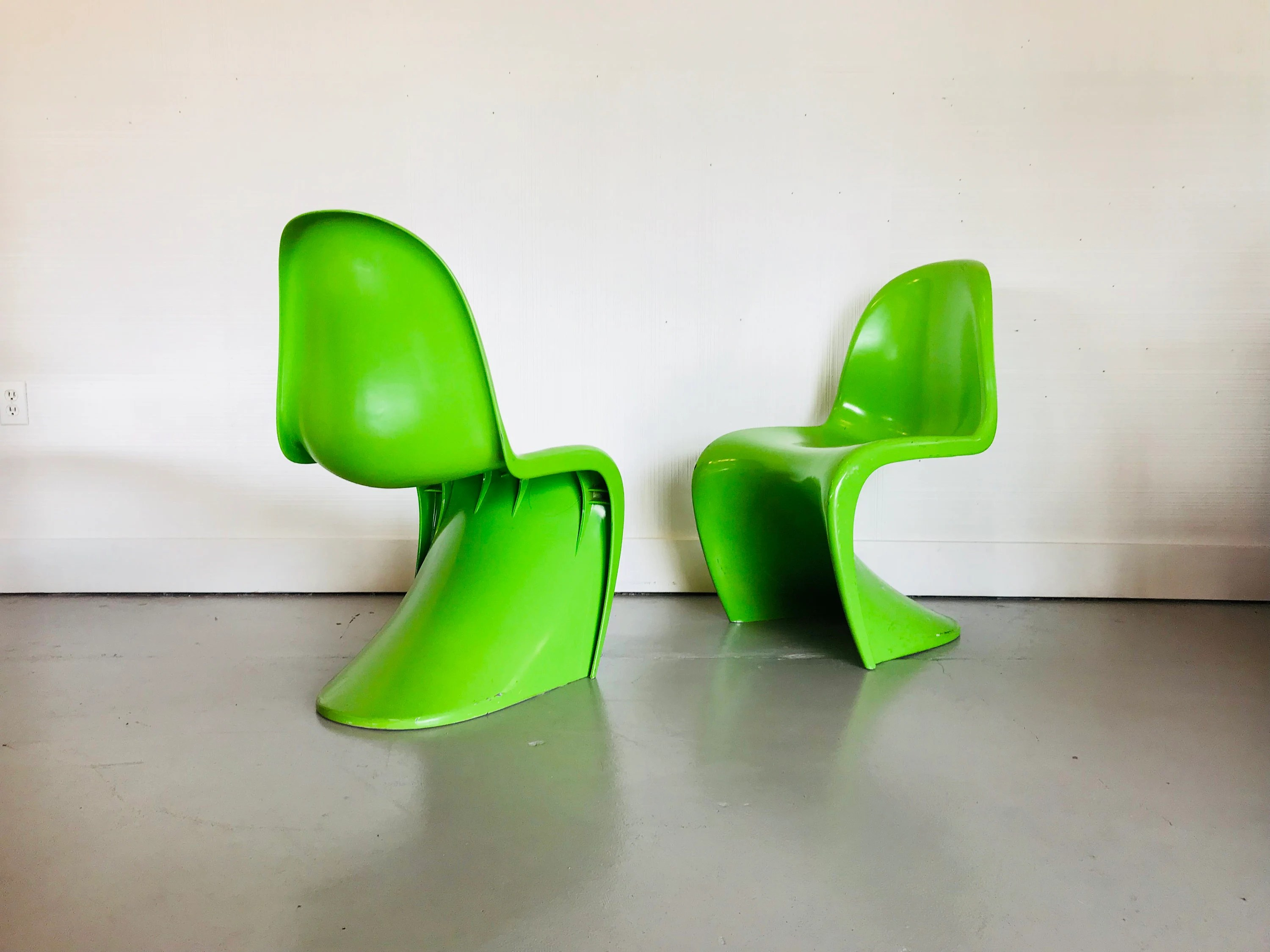 panton s chair executive office chairs perth mid century modern vernor attributed green pair etsy image 0