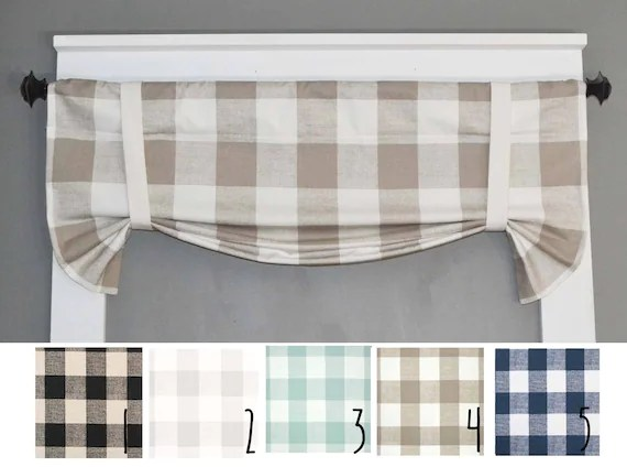 curtains for the kitchen dinette set plaid valance buffalo etsy image 0