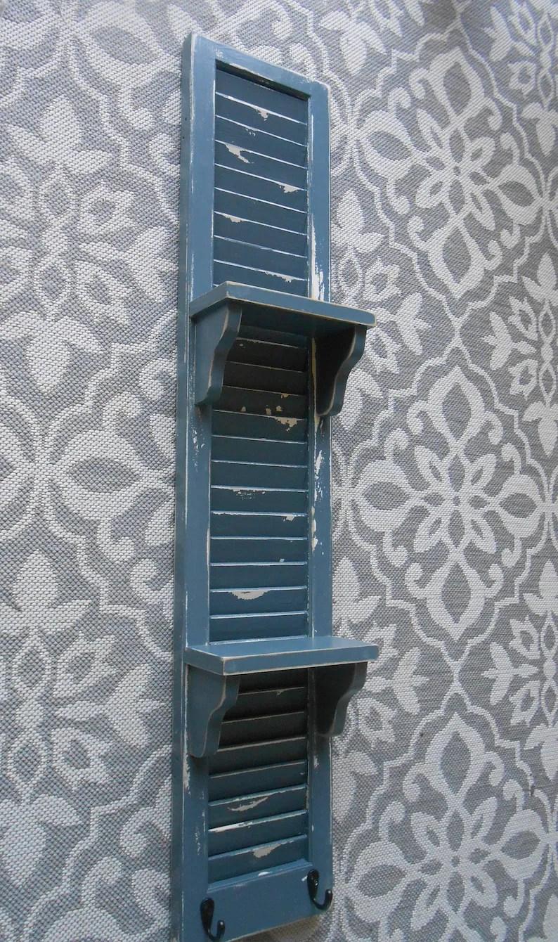 Blue Shutter Shelf Vintage Shutter With Shelves Chippy Shutter Display Farmhouse Shelf Nursery Wall Display Shelf Bathroom Decor Shelf