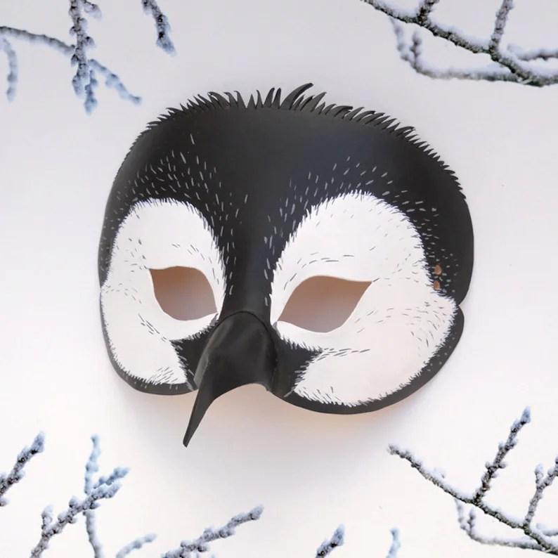 penguin halloween mask leather