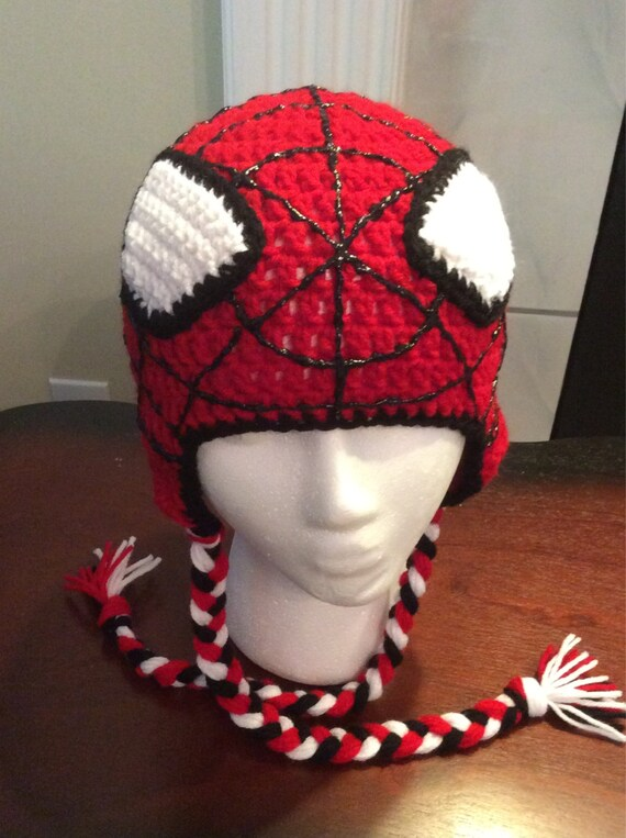 Crochet Spiderman Hats : crochet, spiderman, Spiderman, Crochet, Without, Earflaps