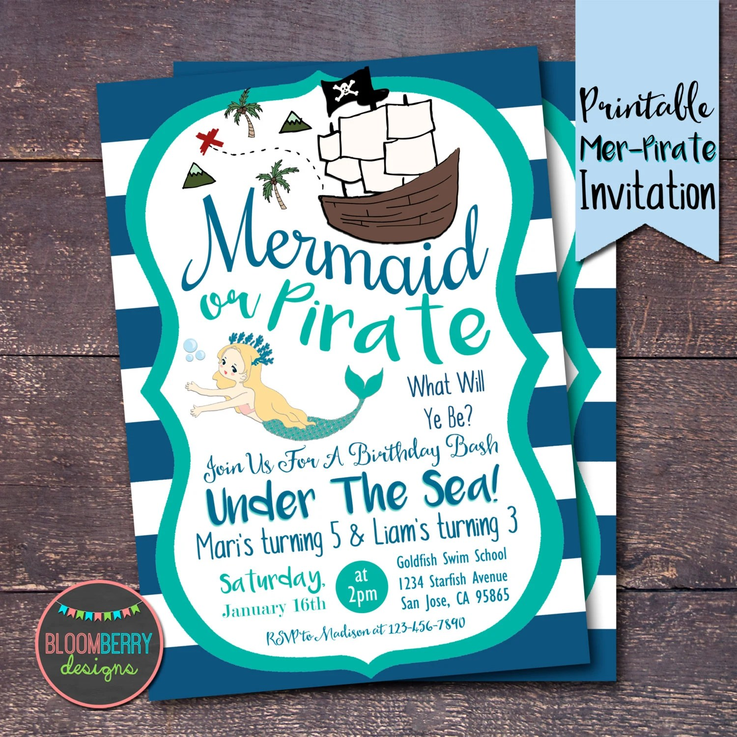 pirates and mermaids party invitation mermaid pirate birthday invitation mermaids invitation pirate invitation joint birthday party