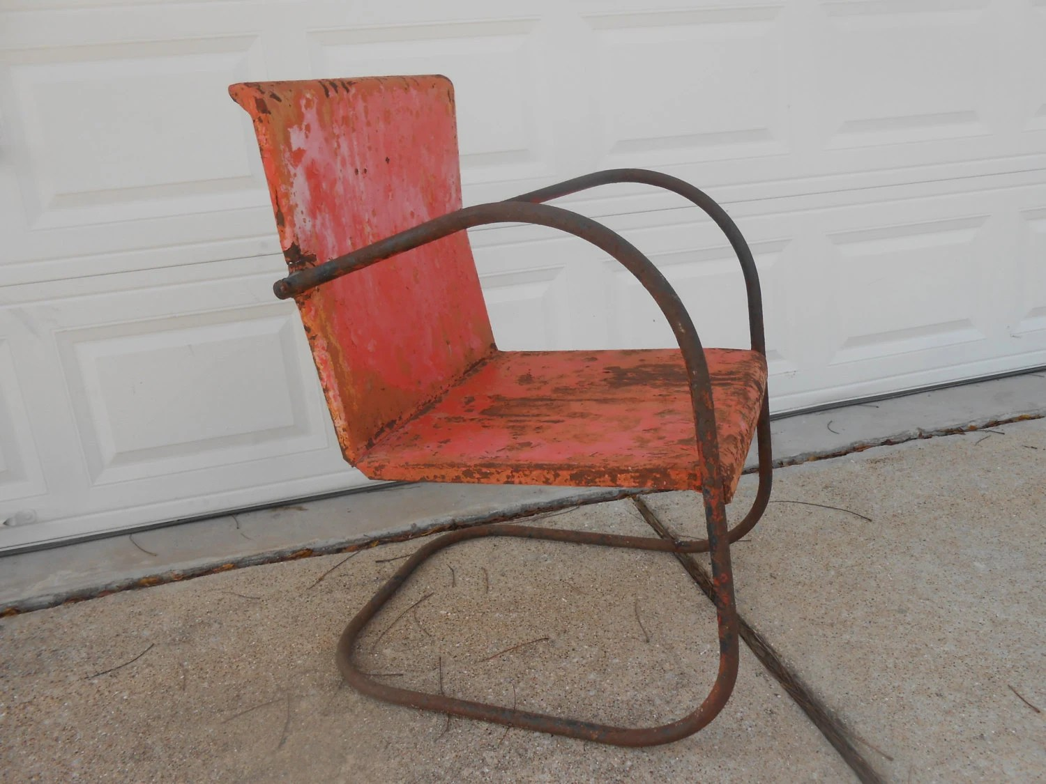 antique lawn chairs swing chair stand price metal rusty shabby chic cottage porch patio etsy image 0