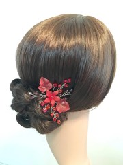 hair pin flower red