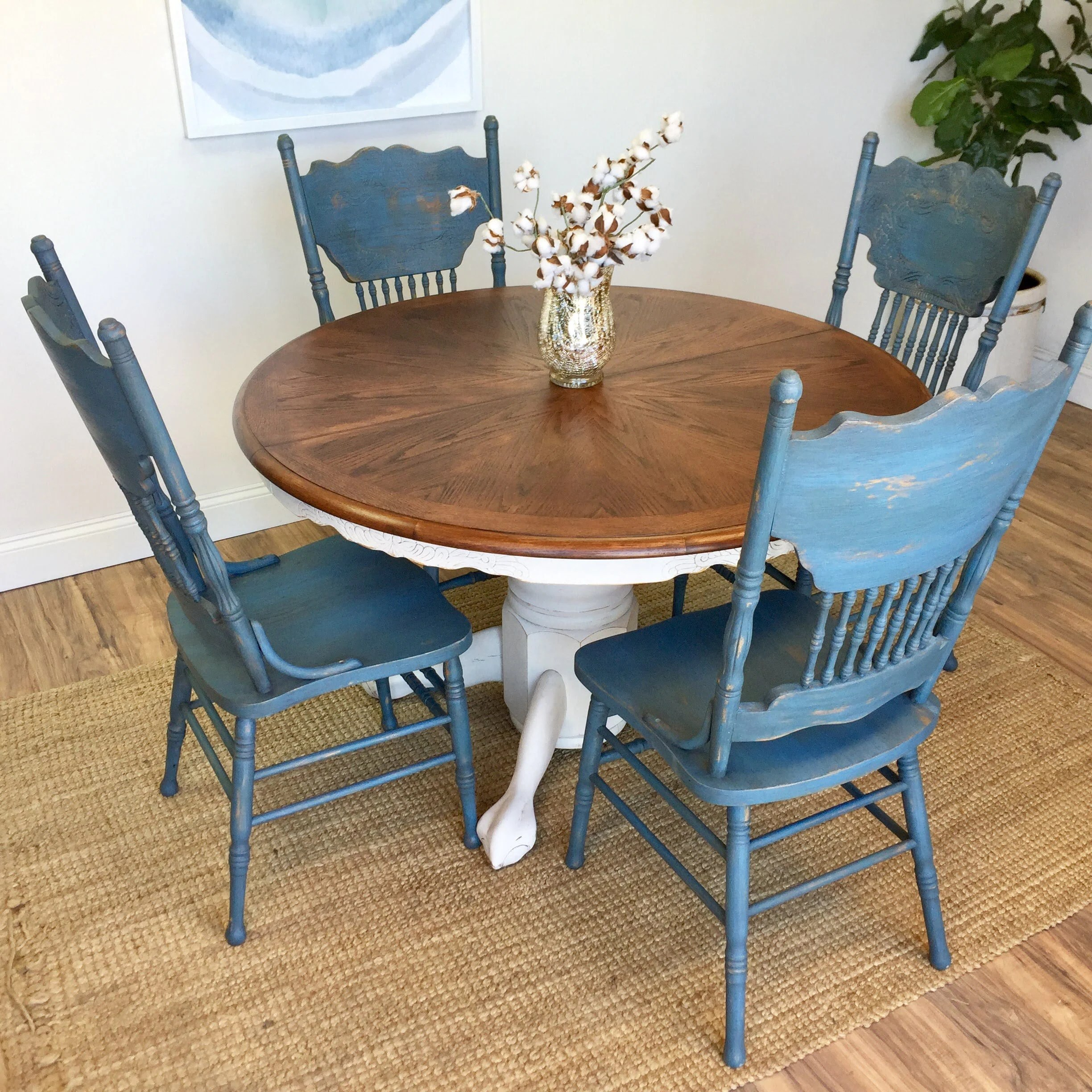 oak farmhouse chairs comfortable living room round table and furniture blue dining 1