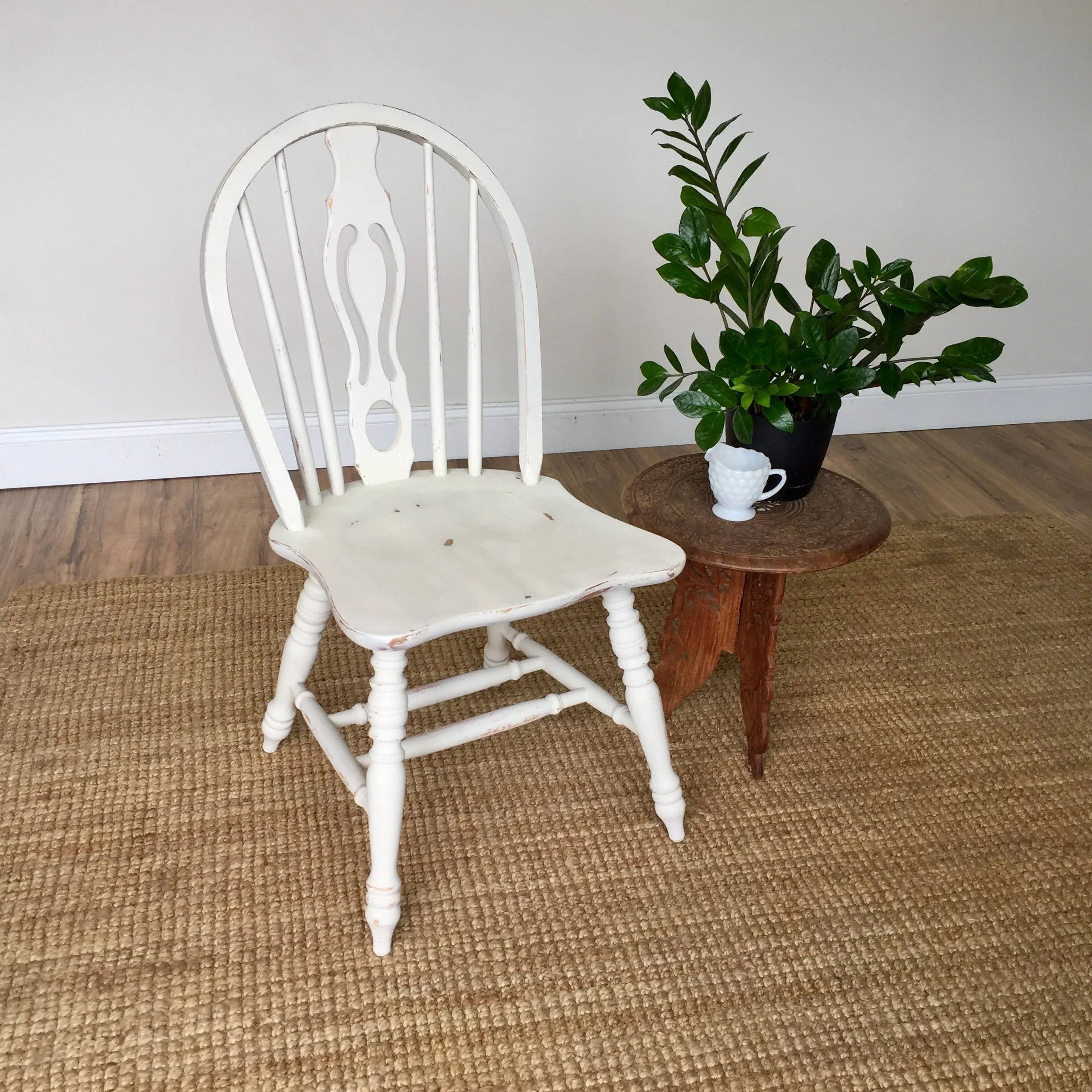 Country Kitchen Chairs White Wood Chair Farmhouse Dining Chair Small Wooden Chair