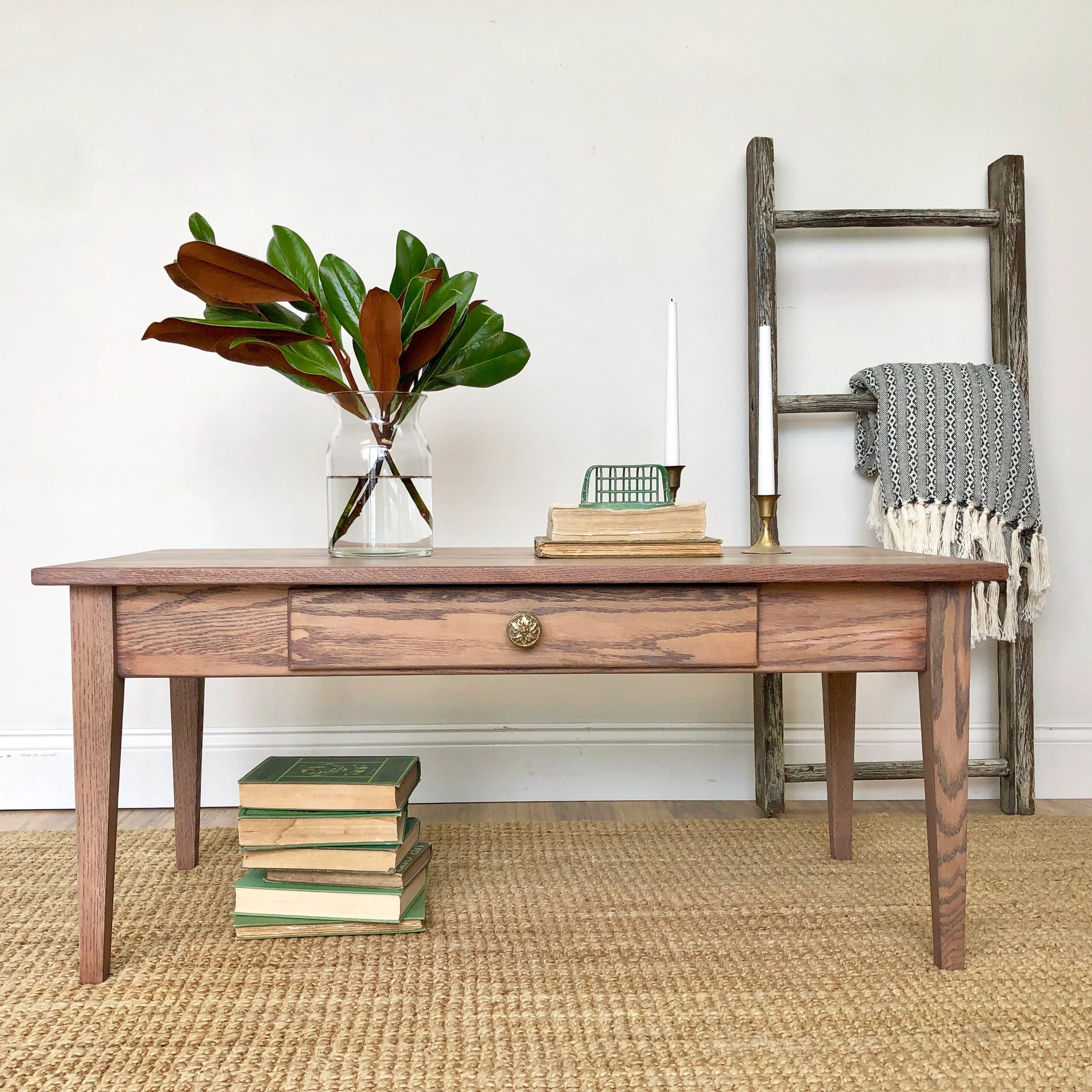 Small Oak Coffee Table With Drawer Mission Style Furniture
