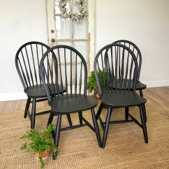 Cottage Style Kitchen Chairs Metal Bistro Table And Black Windsor Dining Room Or Farmhouse Country 1