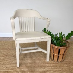 Wooden Library Chair Outdoor Portable Chairs White Vintage Furniture Home Office Antique Accent Distressed Painted