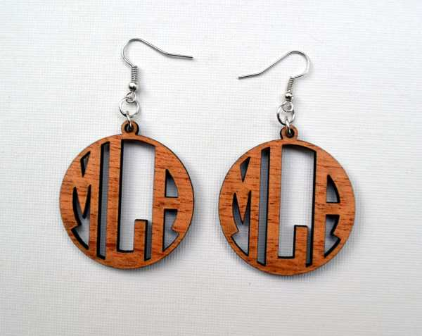 Monogram Wood Earrings. Laser Cut Mahogany Custom