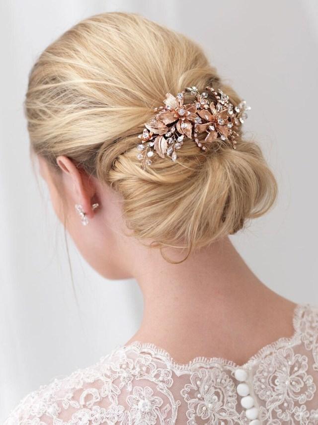 rose gold bridal hair clip, gold wedding hair clip, floral hair clip, bridal hair comb, rose gold headpiece, gold hair clip ~tc-2288