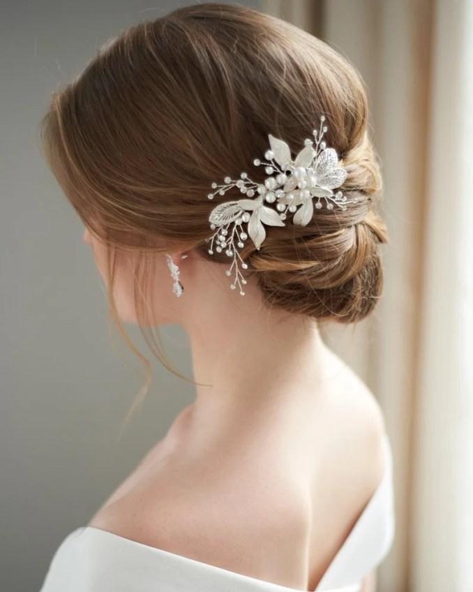 pearl hair clip, wedding hair clip, bridal hair clip, rhinestone hair comb, hair clip for wedding, silver hair clip, hair comb ~tc-2278