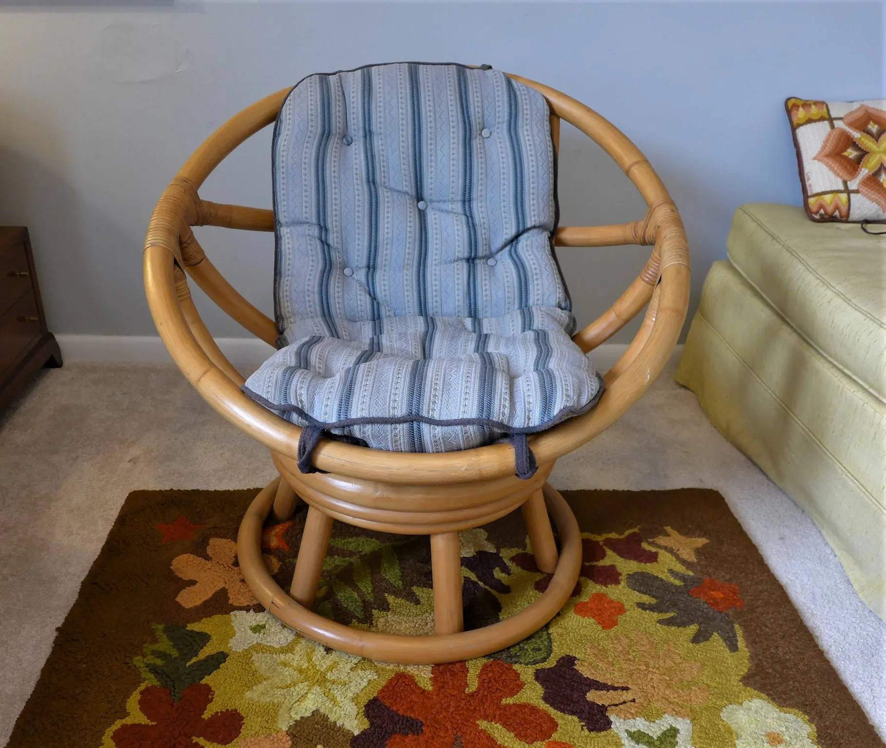 comfortable swivel chair covers for bed bugs vintage bamboo with blue cushion mid century etsy image 0