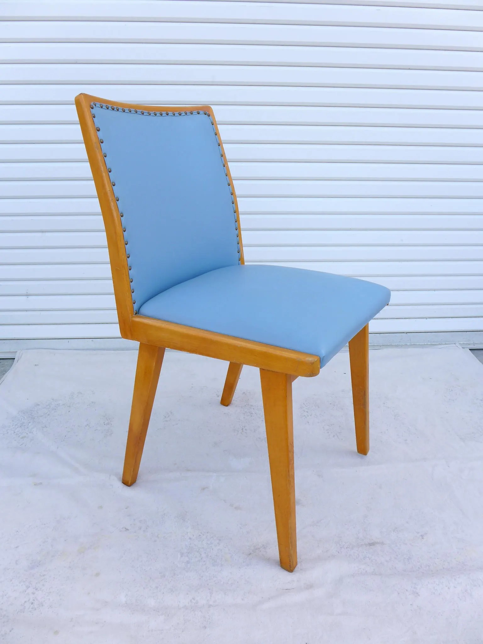 leather side chair mint green blue blonde dining classic mid etsy image 0