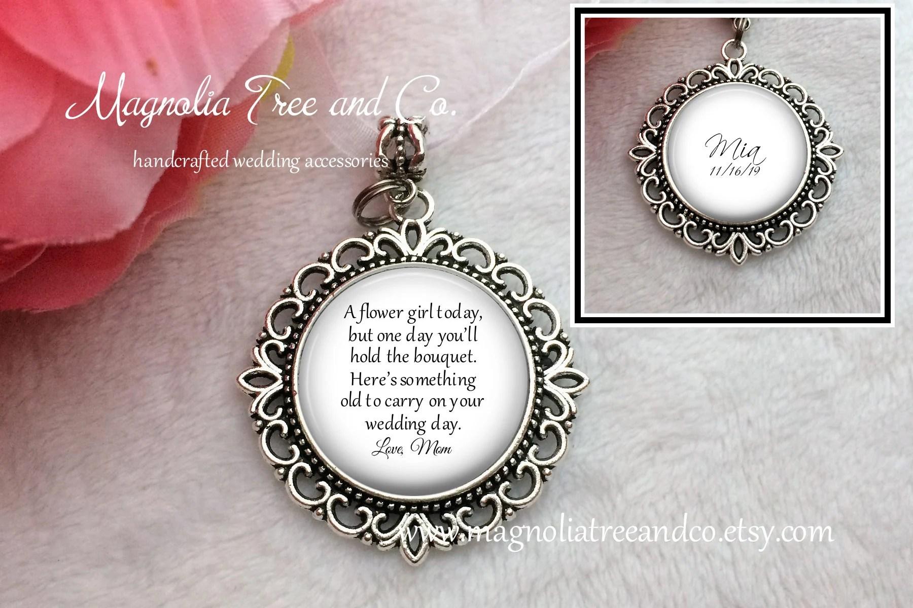 Flower Girl or Bridesmaid Charm Pendant Flowergirl Gift image 1