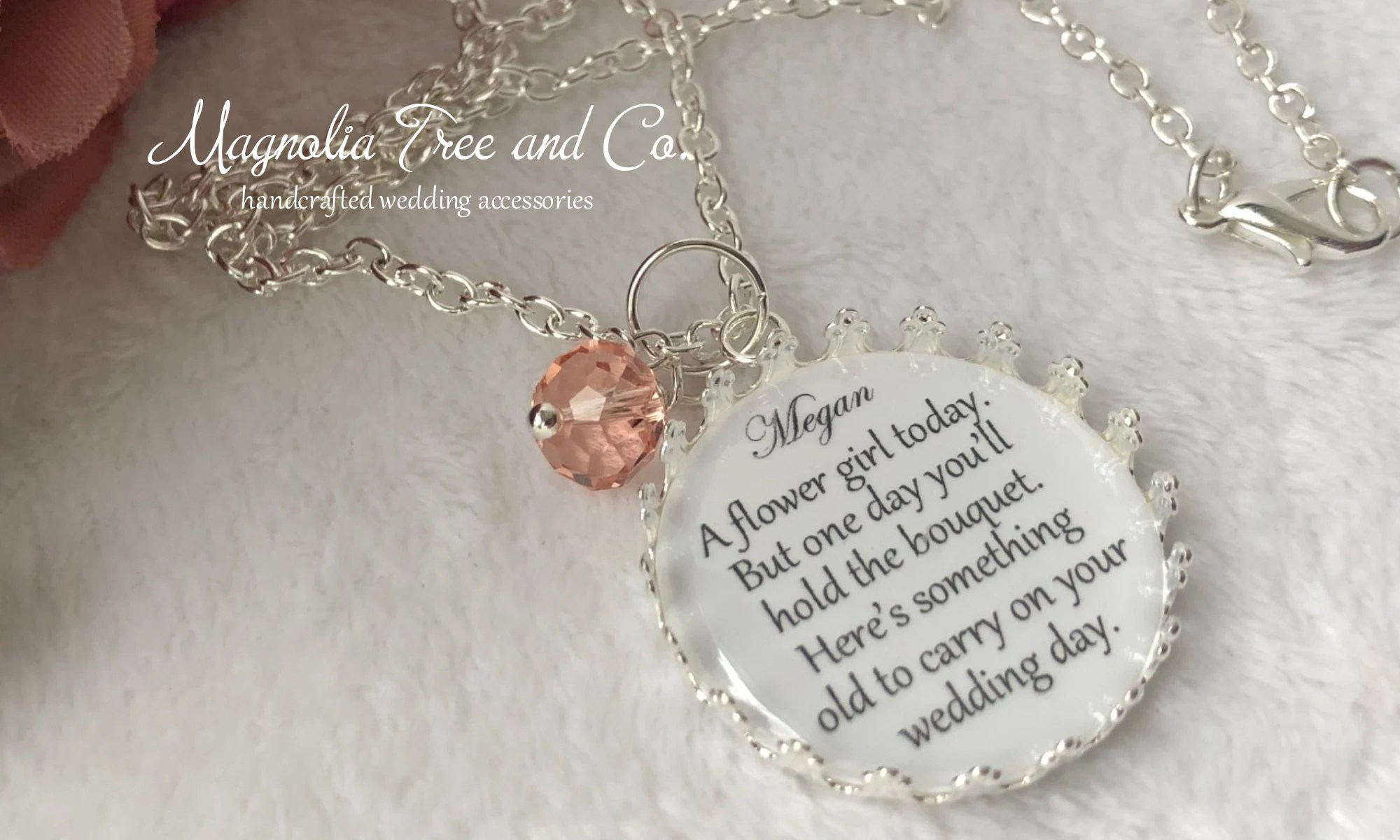 Flower Girl Necklace Bridesmaid Necklace Personalized Bridal image 6