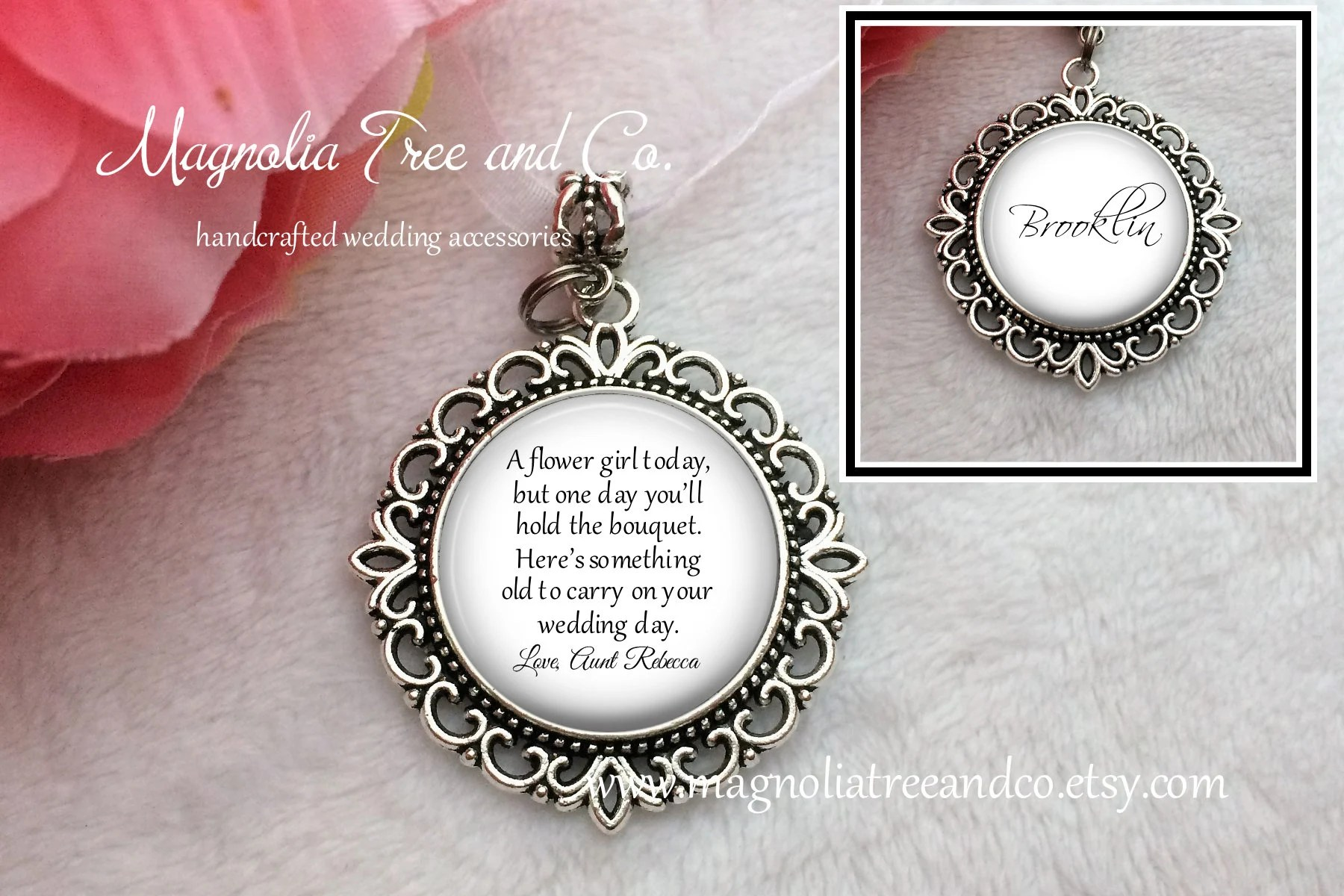 More colours                                                                                        Flower Girl or Bridesmaid Charm Pendant, Flowergirl Gift, Personalized Bouquet Charm, Wedding Flower Charm, Custom Name, One Day… KE04                                                                    MagnoliaTreeandCo                               5 out of 5 stars                                                                                                                                                                                                                                                          (3,374)                                                      CA$33.49                                                                   FREE delivery