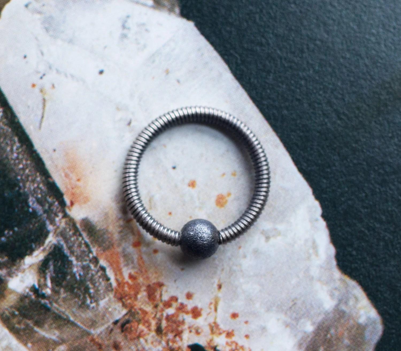 Sterling Silber Ring Septum Tragus Nippel Spirale Muschel