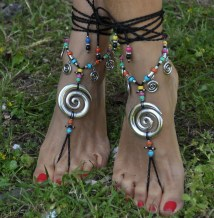 Silver Vortex Barefoot Sandals Black Foot Jewelry Hippie