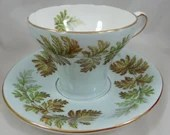 Vintage Aynsley English Bone China Teacup English Blue Teacup and Saucer Set Delightful Tea Cup