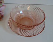 1930s Vintage Federal Glass Pink Diana Mayonnaise Bowl and Underplate  - Pretty Pink Serving Bowl