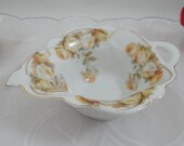 1930s Vintage German Hand Painted Peach Rose Sauce Bowl or Dish