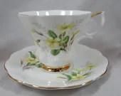 "Vintage Royal Albert English Bone China Teacup Friendship Series ""Primrose"" English Teacup and Saucer Delightful English Tea Cup"