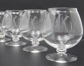 """Vintage Set of 4 Brandy Snifters with """"K"""" Monogram an Elegant Barware Addition or a Great Gift"""